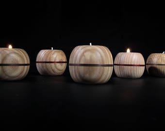 Solid Ash wood with net waxed candle holder
