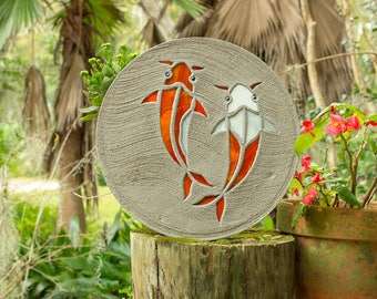Koi Fish Goldfish Stepping Stone Made of Stained Glass and Concrete Perfect for Your Garden Patio or Back Yard Fish Pond or Pool Path #763