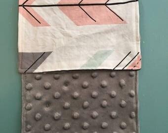Minky Burp Rag - Pink, Mint, Grey Fletching Arrows