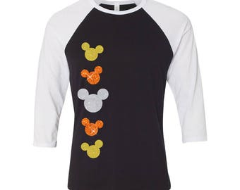 Disney Halloween Minnie Mouse Candy Corn 3/4 sleeve raglan - black and white shirt (orange, yellow and white glitter)