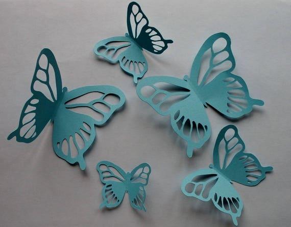 5 papillons en papier bleu pour d coration murale en 3d. Black Bedroom Furniture Sets. Home Design Ideas