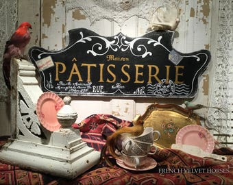 FRENCH SCRIPT PATISSERIE Sign pastry wood sign, confiseries wood sign pastries confections sign Carte Postale, French postage stamp, white