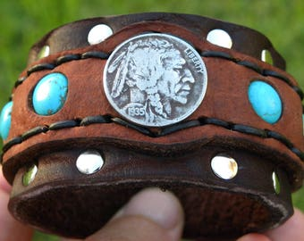 Authentic Buffalo Indian Nickel coin  bracelet ketoh Buffalo Bison leather handcrafted adjustable one of kind tribal turquoise