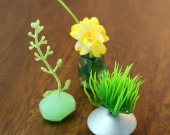 Set of 3 Miniature Vases - Tropical Greens Collection