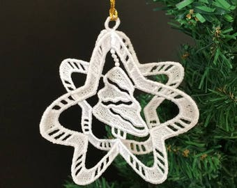 3D FSL Christmas Ornaments 4 Free Standing Lace Machine Embroidery Designs Instant Download 4x4 hoop 8 designs APE2637
