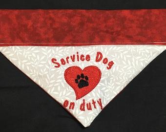 Dog Bandana / Service Dog / Over the Collar Dog Bandana / Personalized Bandana / Embroidered Bandana / Service Dog Bandana