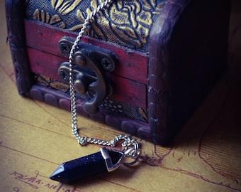 Sparkly Blue Sandstone/Goldstone Crystal Pendulum • Star Stone • Divination • Scrying Spirituality Magick Tool • New Age • Healing Pendulum