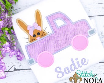 Bunny in a Truck Easter Shirt, Gown, Bodysuit, Romper