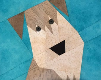 Wheaten Terrier Paper Pieced Block Pattern in PDF