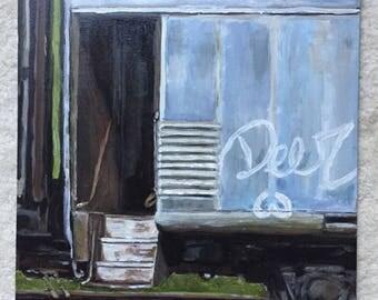 Old Train Car Door - 12 x 16 acrylic on panel board