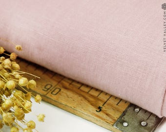 Softened dusty pink linen fabric - Washed pink linen- Stonewashed light dirty pink fabric for clothing, bedding