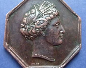 Interesting 8 Sided French Historical Medal Dated 1823