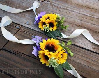 Wrist Corsage, Sunflower Corsage, Lavender Corsage, Corsage, Purple Sunflower Corsage
