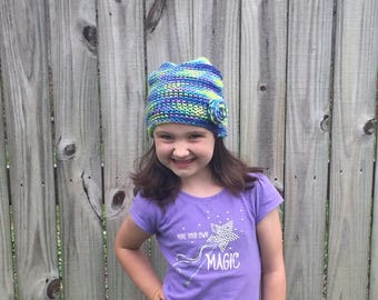 Knit hat - with flower!