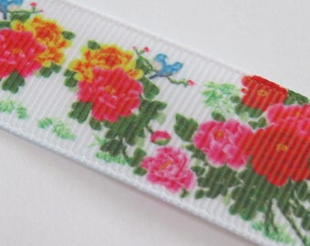 Grosgrain Ribbon flower on white background