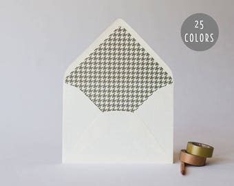 houndstooth lined envelopes (25 color options) - sets of 10 // envelope liners lined envelopes modern wedding shower party invitation invite