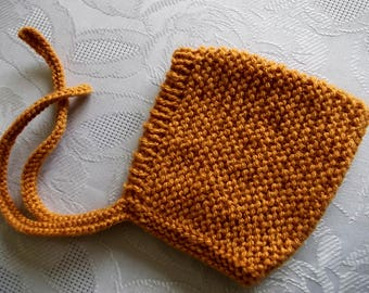 Baby pixie hat Mustard yellow hat Pixie bonnet Knit pixie hat Newborn bonnet Yellow pixie hat Knit baby bonnet Baby elf hat Knit newborn hat