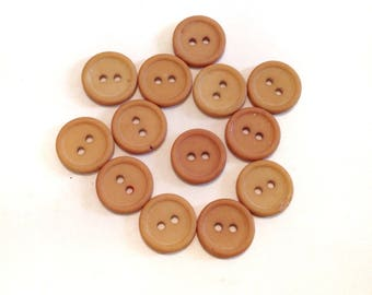 Thirteen Tan Plastic Vintage Buttons Craft Sewing Art Recycle Upcycle Art