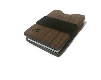 Handmade Walnut Wood Wallet, Minimal Wallet, Credit Card Holder, Personalized Wallet