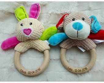 Personalised engraved wooden ring baby rattle