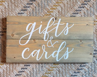 Cards and Gifts Rustic Wood Wedding Sign - weathered oak stain - Gift table sign