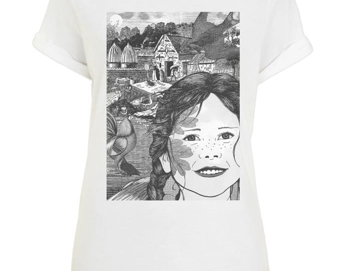 Hope The Farm Girl Illustration Womens Organic Cotton Boyfriend Style T-Shirt With Rolled Up Sleeves. White.