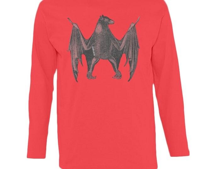 Fruit Bat Design Men's Ringspun Cotton Longsleeve T Shirt. Black, Red, Grey Or White. Sizes S-2XL.