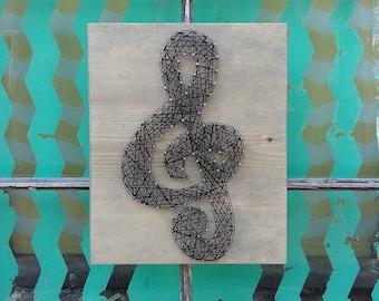 String Art Music Note, String Art Treble Clef, Nail Art Music Note, Music Wall Art, Wood Home Decor, Music Teacher Gift
