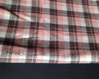 Fabric style pink and Brown 100cm tartan wool / 150cm