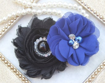 Royal blue and black hair clips, toddler girls hair bows, toddler hair accessories, royal blue flower hair bows, royal blue hair accessory