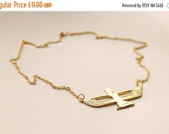 Isis Egyptian Goddess Necklace // Gold Plated // Vintage 1980's Egyptian Pendant // Vintage and Unusual Costume Jewellery // Made in England