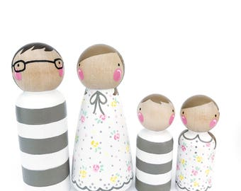 "Peg doll family- The Fresh Family 4 // peg dolls // dollhouse family // Floral and Striped wooden dolls // 3 1/2"" parents and 2 3/8"" kids"