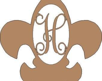 Custom UNFINISHED Fleur De Lis Monogram Hanger