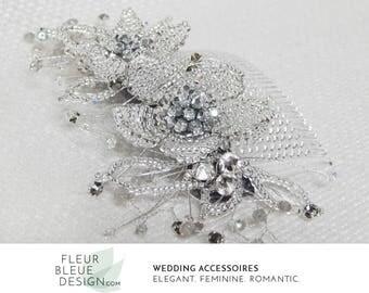silver bridal hair accessory | silver hair accessory | bridal hairpiece | wedding hair accessories bridal accessories | flower hair comb