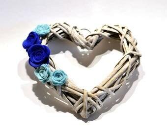 Small Wicker Heart Wreath / Royal Blue and Duck Egg Blue Wreath  / Felt Flower Wreath  / Heart Pew end / wedding chair back