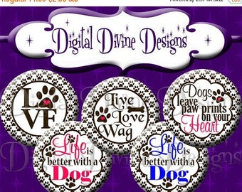 BTS Love Dogs - 1 inch round digital graphics - Instant Download