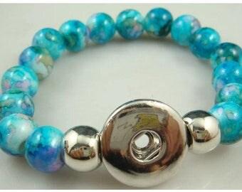 Blue Marble Snap Button Bracelet