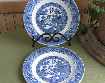 Blue Willow Ware Plates Two (2) Royal China Luncheon or Sandwich Plates Vintage Dinnerware Rustic Farmhouse Style Home Decor Chinoiserie
