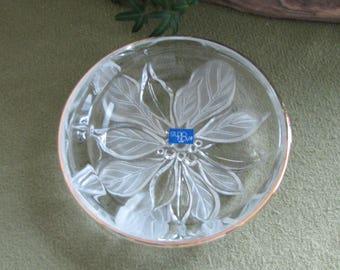 Mikasa Crystal Gilded Poinsettia Candy Dish Studio Nova Line Vintage Holiday Serving Ware