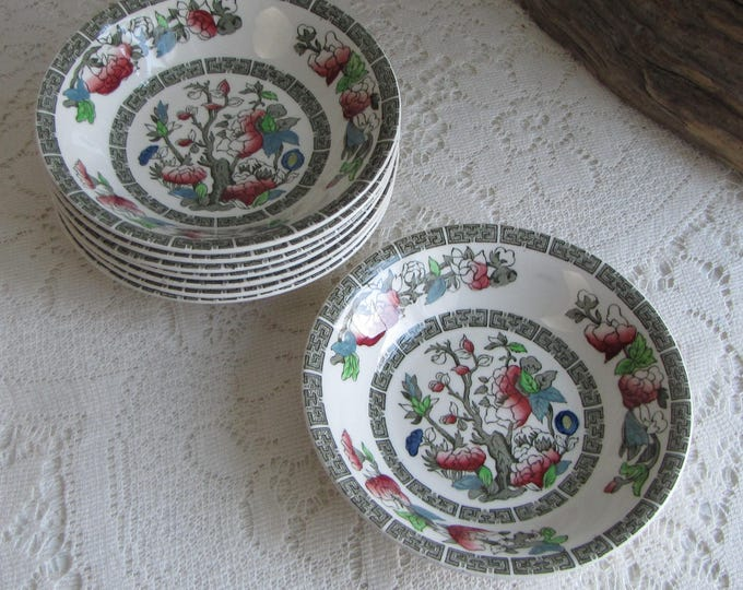 Indian Tree Dessert Bowls Johnson Bros. Vintage Dinnerware and Replacements 1979-1982 Greek Key Set of Seven (7)