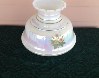 Vintage Hurricane Lamp Shade Iridescent Milk Glass Floral Style Yellow White Daisies