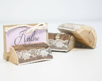 50 pieces rustic place card holders wooden card holders with lace wedding card holders