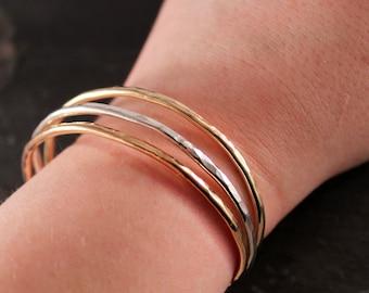 2.5 mm Thick Cuff Bangles (Gold Silver Rose Gold Bracelet Bridesmaid Wedding Gift for Her Gifts Under 50 Adjustable bracelet)