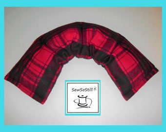 Flax Seed Heating Pads, Microwavable Heating Pad, Rice Heating Pad, Neck Warmer, Sunny Heat Pack, Red Black Plaid
