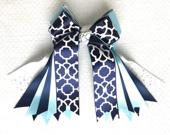 Horse Show Hair Bows/Navy blue equestrian clothing/beautiful gift/Ready2Mail w elastic loops