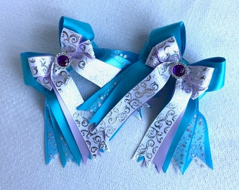 Horse Show Hair Bows/Frozen Princess Turquoise Hair Accessory