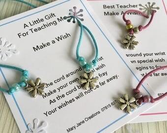 Teacher Gift, Thank you Teacher. Wish Bracelet, Teachers, Make a Wish, For Teachers, Flower Bracelet, Gift for Her, Flower Cord Bracelet