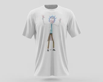 Rick Sanchez T-shirt Design from Rick and Morty with famous catch phrase Wubba Lubba Dub Dub. Shown on Adult Swim in black or white shirt