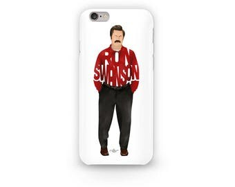 "Ron Swanson Phone Case Typography Design of Nick Offerman from Parks And Rec with his name ""Ron Swanson"" wearing a red shirt and black pants"