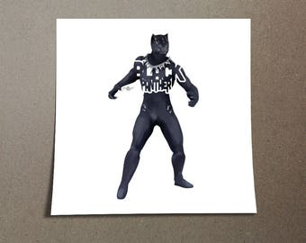 """Black Panther Poster Typography Design from the Marvel Universe with his name, """"Black Panther"""" in Black Sticker Laptop Decal Avengers"""